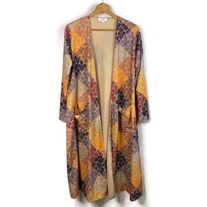 LuLaRoe Womens Sarah Damask Multi Color Open Front Cardigan Duster With Pockets
